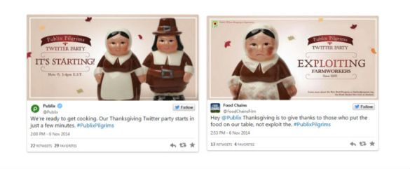 Example of Publix Twitter party being co-opted by an advocacy group creating a real-time PR issue